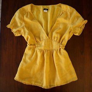 J. Crew Mustard Short Sleeve Top